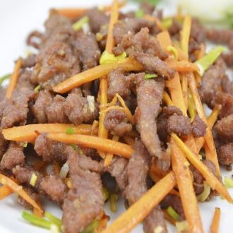 Ternera Shi Chuan (zanahorias, ligeramente picante)